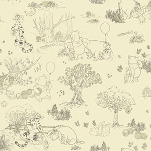 Walt Disney Kids Pooh and Friends toile Wallpaper
