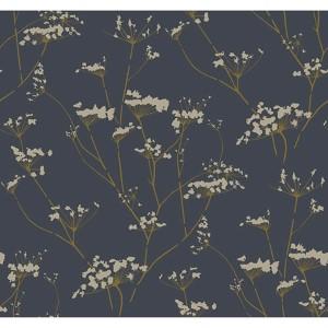 Modern Luxe Deepest Slate Blue and Golden Glow Enchanted Wallpaper