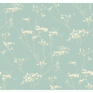 Modern Luxe Glazed Glacier Blue and Whipped Cream Enchanted Wallpaper