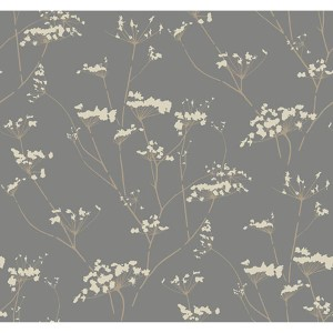 Modern Luxe Glazed Pewter and Cork Tan Enchanted Wallpaper