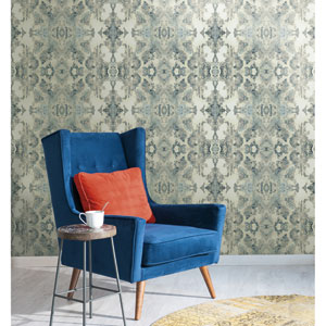 Modern Luxe Deep Blue Grey and Graphite Grey Inner Beauty Wallpaper
