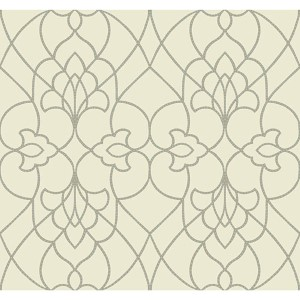 Modern Luxe Metallic Silver and Aquamarine Dotted Pirouette Wallpaper