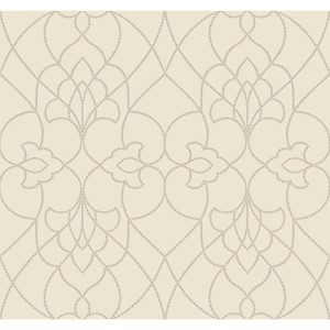 Modern Luxe Pearlescent Egg Shell and Metallic Silver Dotted Pirouette Wallpaper