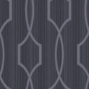 Modern Luxe Shining Silver and Ebony Black Palladian Wallpaper