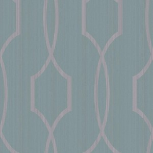 Modern Luxe Shining Silver and Deep Aquamarine Palladian Wallpaper