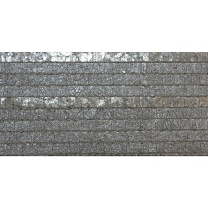Modern Luxe River Rock Grey and Pearlescent Pewter Woven Capiz Wallpaper