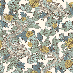 Dwell Studio Ming Dragon Blue Wallpaper