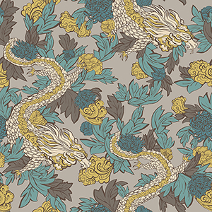 Dwell Studio Ming Dragon Black Wallpaper