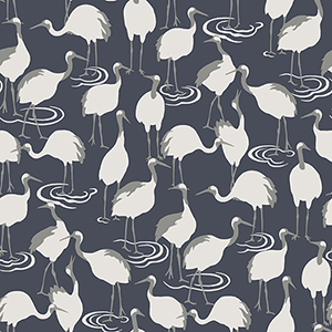 Dwell Studio Winter Cranes Blue Wallpaper