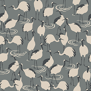 Dwell Studio Winter Cranes Black Wallpaper