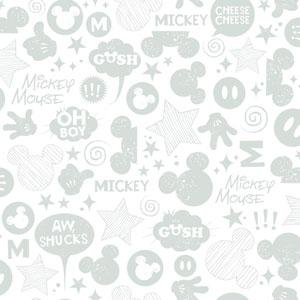 Disney Kids II White and Silver Animated Tonal Wallpaper