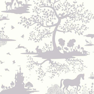 Dwell Studio Baby and Kids Fable Purple and White Wallpaper