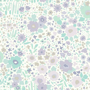 Dwell Studio Baby and Kids Posey Sidewall Purple and Blue Wallpaper