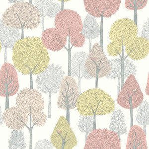 Dwell Studio Baby and Kids Treetops Pink and Yellow Wallpaper