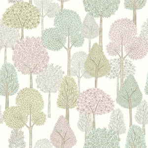 Dwell Studio Baby and Kids Treetops Pink and Green Wallpaper