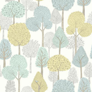 Dwell Studio Baby and Kids Treetops Blue and Yellow Wallpaper
