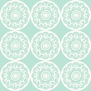 Dwell Studio Baby and Kids Zinnia Blue and White Wallpaper