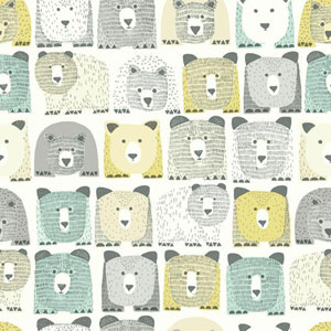 Dwell Studio Baby and Kids Bears Sidewall Blue and Yellow Wallpaper