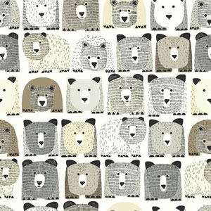Dwell Studio Baby and Kids Bears Sidewall Black and Brown Wallpaper