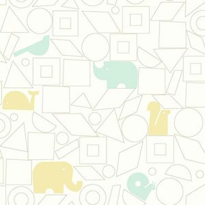 Dwell Studio Baby and Kids Animal Blocks Blue and Yellow Wallpaper