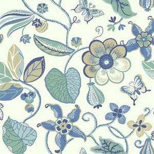 Carey Lind Vibe Sea Floral Blue and Gold Wallpaper