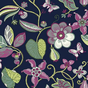 Carey Lind Vibe Sea Floral Blue and Red Wallpaper