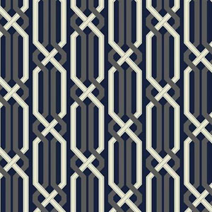 Carey Lind Vibe Criss Cross Blue and Silver Wallpaper