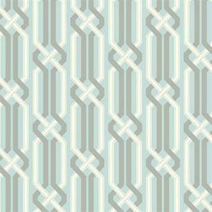 Carey Lind Vibe Criss Cross Aquamarine, Silvered Aqua, White and Silver Wallpaper