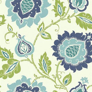Carey Lind Vibe Jaco Floral Blue and Green Wallpaper