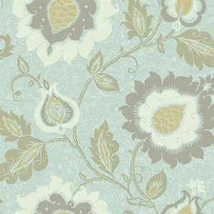 Carey Lind Vibe Jaco Floral Blue and Yellow Wallpaper