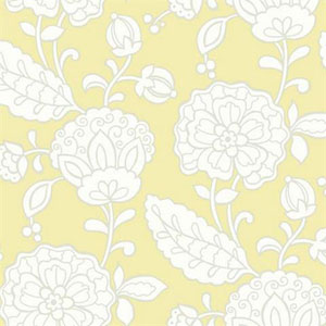 Carey Lind Vibe Chunky Floral Butter Yellow, Pale Grey and White Wallpaper