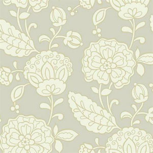 Carey Lind Vibe Chunky Floral Pearlescent Beige and Tan and Wallpaper