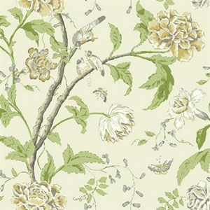 Carey Lind Vibe Teahouse Floral Green, Cream and Gray Wallpaper