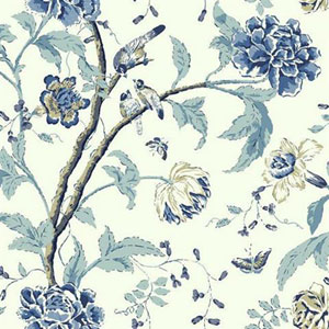 Carey Lind Vibe Teahouse Floral Blue Wallpaper