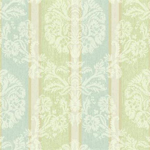 Carey Lind Vibe Woven Damask Stripe Blue and Green Wallpaper