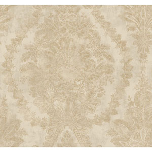 Ronald Redding 18 Karat II Gold and Grey Charleston Wallpaper