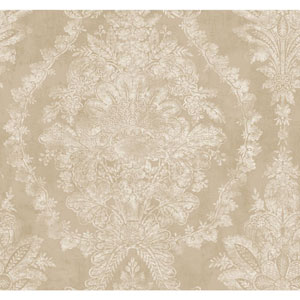 Ronald Redding 18 Karat II Gold and Beige Charleston Wallpaper