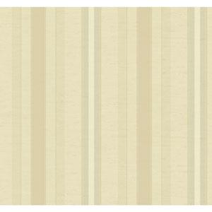 Ronald Redding 18 Karat II Metallic Silver and Beige Boxhill Stripe Wallpaper