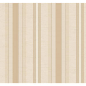 Ronald Redding 18 Karat II Cream and Metallic Gold Boxhill Stripe Wallpaper