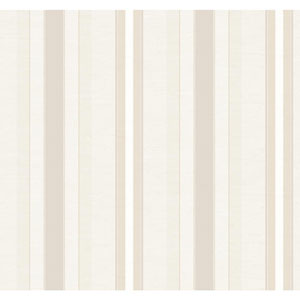 Ronald Redding 18 Karat II Pearlescent Beige and Metallic Gold Boxhill Stripe Wallpaper
