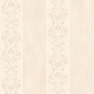 Arlington Cream and Pale Peach Stencil Stripe Wallpaper