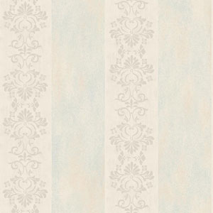 Arlington Cream and Light Blue Stencil Stripe Wallpaper