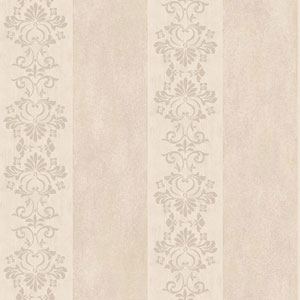 Arlington Beige and Silver Stencil Stripe Wallpaper