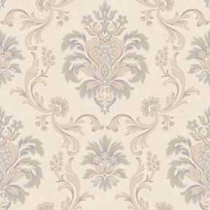 Arlington Cream and Ecru Bohemian Damask Wallpaper