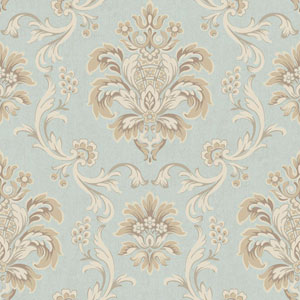 Arlington Aqua and Cream Bohemian Damask Wallpaper