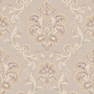 Arlington Pale Beige and Light Grey Bohemian Damask Wallpaper