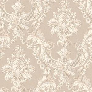 Arlington Ecru and Silver Gilded Damask Wallpaper