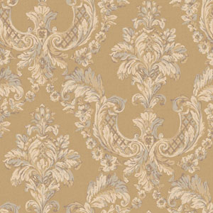 Arlington Gold and Ecru Gilded Damask Wallpaper