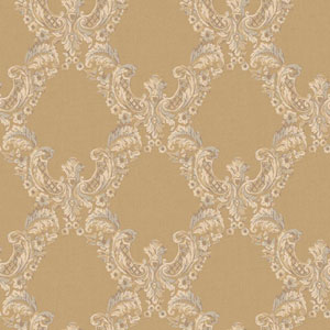 Arlington Gold and Ecru 2 Color Trellis Wallpaper