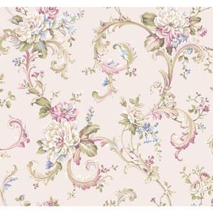 Arlington Cream and Dark Pink Floral Scroll Wallpaper